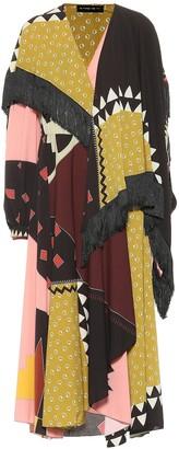 Etro Printed crepe dress with fringe