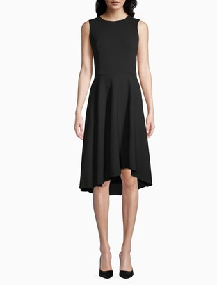 Calvin Klein Cinch Waist Sleeveless High-Low A-Line Dress