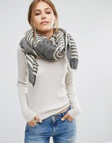 Pieces Woven Oversized Scarf in Monchrome Stripe