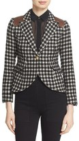 Smythe Women's Leather Trim One-Button Check Blazer