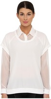Tibi Double Layer Silk Double Layer Blouse (White) - Apparel