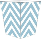 The Well Appointed House Blue Chevron Grande Decoupage Wastebasket with Optional Tissue Box