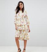 Vero Moda Tall Floral Midi Dress With Peplum Hem