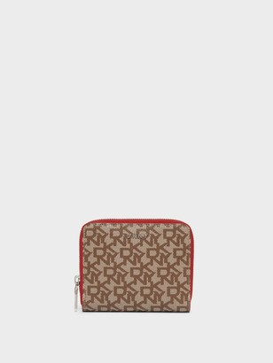 DKNY Small Zip Around Logo Wallet With Contrast Edges