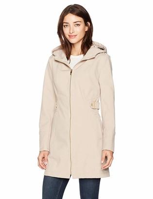 Via Spiga Women's Zip Front Hooded Walker Coat with Leopard Faux Fur Backing