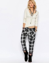 Free People Plaid Slim Utility Pant
