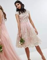 Chi Chi London Premium Lace Midi Prom Dress With Bardot Neck