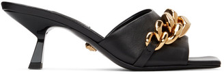 Versace Black Chain Mid-Heel Mule Sandals