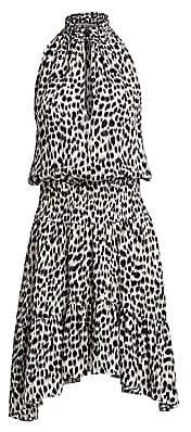 A.L.C. Women's Cody Leopard Print Silk Halter Handkerchief Dress