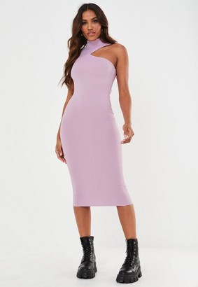 Missguided Lilac Rib High Neck Cut Out Midaxi Dress