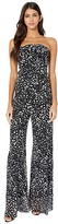 Fuzzi Strapless Poppy Print Jumpsuit (Nero) Women's Jumpsuit & Rompers One Piece