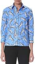 Carolina Herrera Collared Zebra-Print Button-Front Cotton Shirt