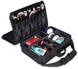 LOUISE MAELYS 3 Layers Makeup Artist Train Case Cosmetic Bag Shoulder Bag for Travel-Removable Dividers Medium Size