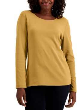 Karen Scott Cotton Long-Sleeve T-Shirt, Regular & Petite, Created for Macy's