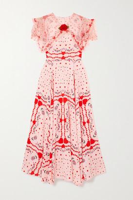 Rodarte Ruffled Organza-trimmed Printed Silk Crepe De Chine Dress - Red