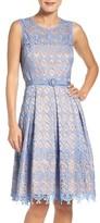 Eliza J Women's Belted Lace Fit & Flare Dress