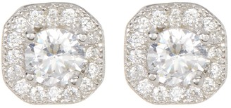 ADORNIA Sterling Silver Prong & Halo Set Swarovski Crystal Accented Stud Earrings