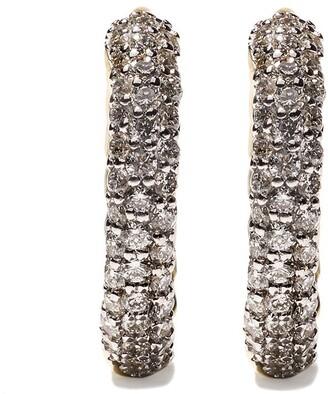 David Yurman 18kt yellow gold Petite Pave diamond huggie hoop earrings