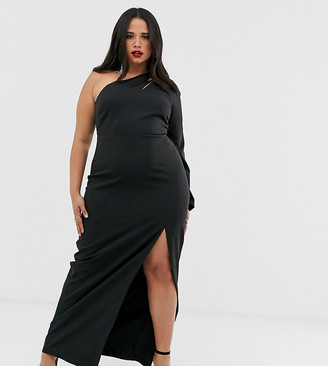 Vesper Plus one shoulder maxi dress with split and cut out in black