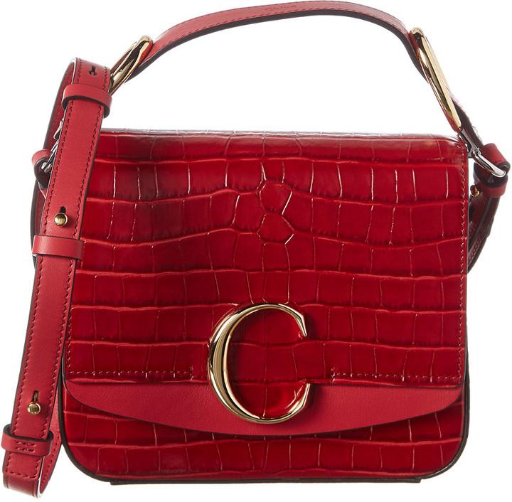 Chloé C Mini Croc-Embossed Leather Shoulder Bag