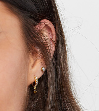 Orelia crystal pave huggie hoop earrings in gold plate with star charm