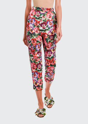 Dolce & Gabbana Floral Stretch Brocade Cropped Pants
