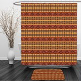 Vipsung Shower Curtain And Ground MatNative AmericanBy Ambesonne Ethnic Seamless Pattern On ndigenous Tribal Style Art Eagles And Traditional ElementsShower Curtain Set with Bath Mats Rugs