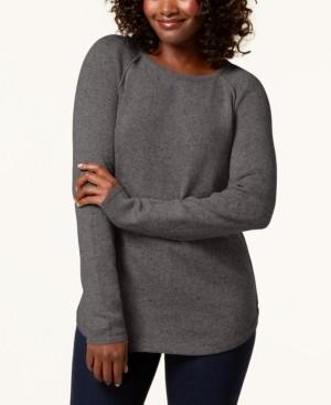 Karen Scott Petite Curved-Hem Textured Sweater, Created for Macy's