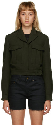 Saint Laurent Green Cropped Military Jacket