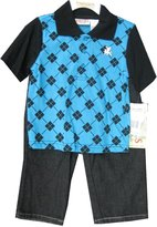 Carter's Little Boys Black Blue Plaid Polo Shirt Denim 2 Pc Pants Set