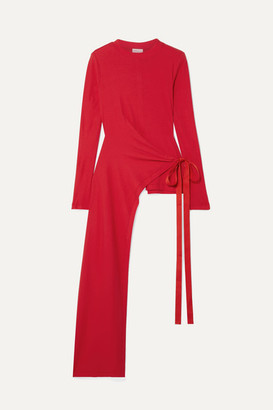 Rosetta Getty Draped Asymmetric Stretch-cotton Jersey Wrap Top - Red