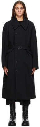 Y's Ys Reversible Black Taffeta Coat