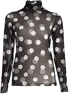 Dries Van Noten Women's Sheer Polka Dot Turtleneck