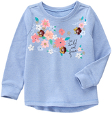 Blue Flower-Detail 'Wild and Free' French Terry Sweatshirt - Girls