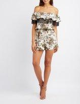 Charlotte Russe Floral Lace-Trim Off-The-Shoulder Romper