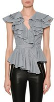 Alexander McQueen Sleeveless Striped Poplin Peplum Top with Ruffled Frills