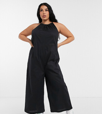 Noisy May Curve poplin jumpsuit with halterneck in black