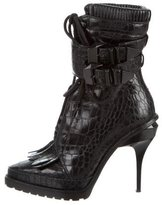 Alexander Wang Embossed Lace-Up Ankle Boots