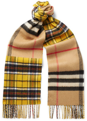 Burberry Fringed Checked Cashmere And Merino Wool-blend Scarf - Yellow