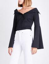 Caroline Constas Persephone off-the-shoulder cotton-poplin shirt