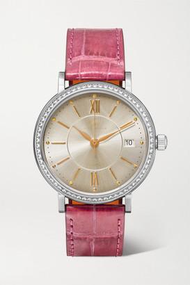 IWC SCHAFFHAUSEN - Portofino Automatic 37mm Stainless Steel, Alligator And Diamond Watch - Pink