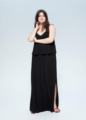 MANGO Violeta BY Double-layer gown black - 14 - Plus sizes