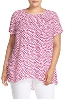 Vince Camuto 'Falling Cubes' Print Short Sleeve High/Low Blouse (Plus Size)