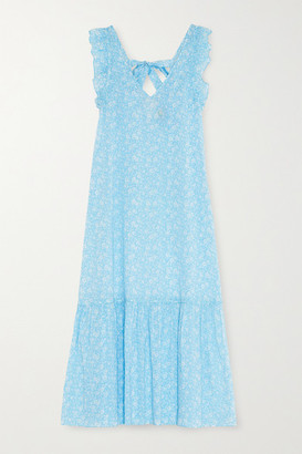 Ganni Ruffled Floral-print Cotton-voile Midi Dress - Light blue