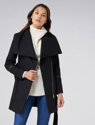 Forever New Trixie funnel coat - Black - 4