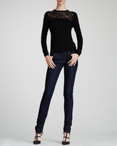 RED Valentino Lace-Yoke Wool Sweater, Black
