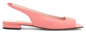 Emilia Wickstead Open Square-toe Slingback Flats - Womens - Pink