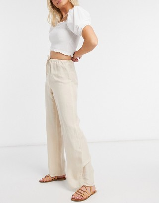 And other stories & eco high waist linen mix pants in beige