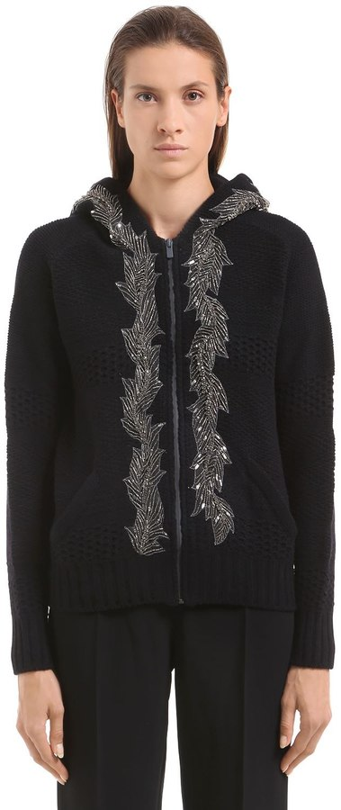 Jo No Fui Embellished Hooded Wool Cashmere Sweater