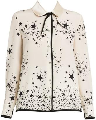 Miu Miu St Stars Marocain Silk Blouse